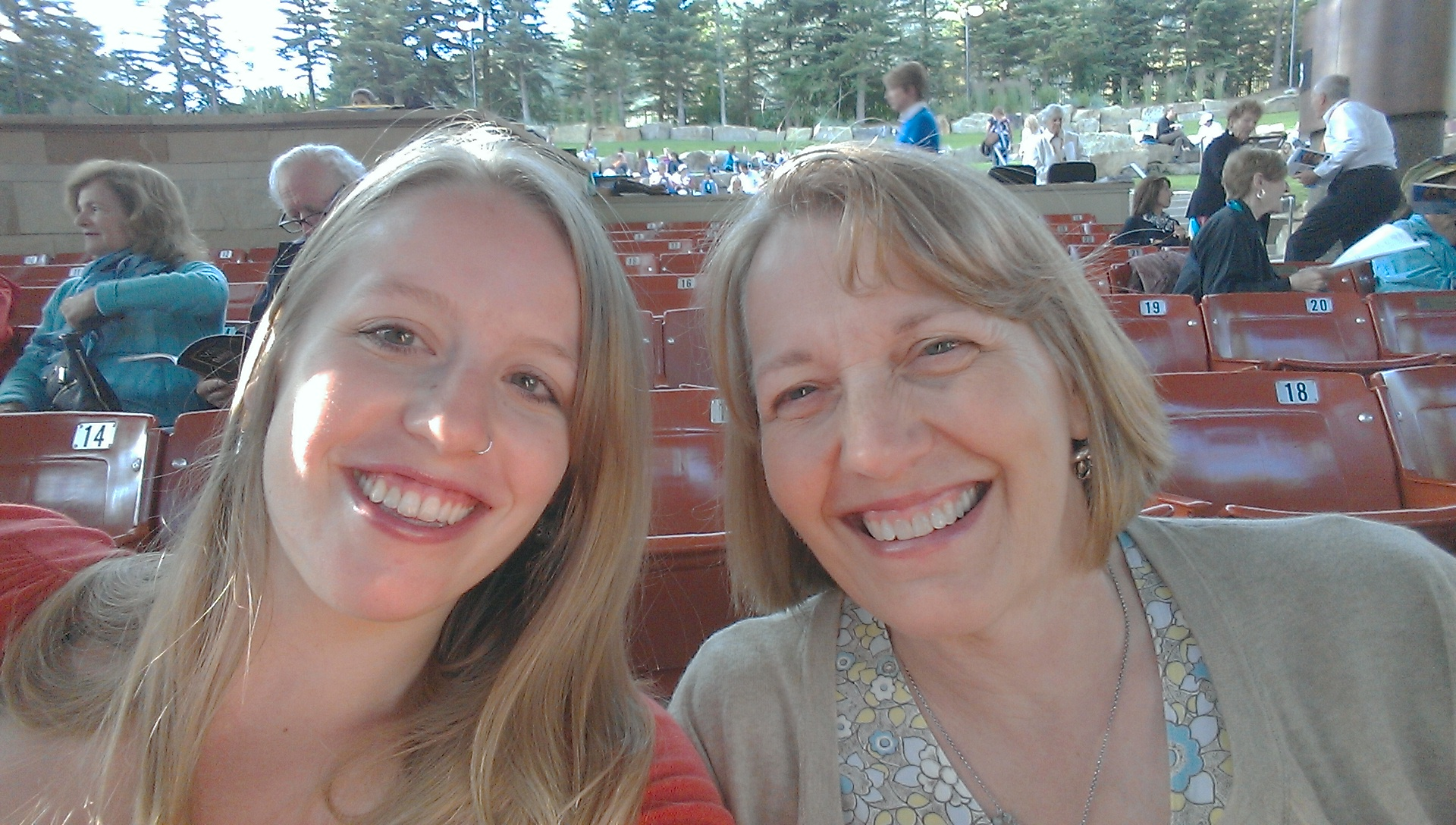 A photo of the author and her mother at the Gerald Ford Amphitheater