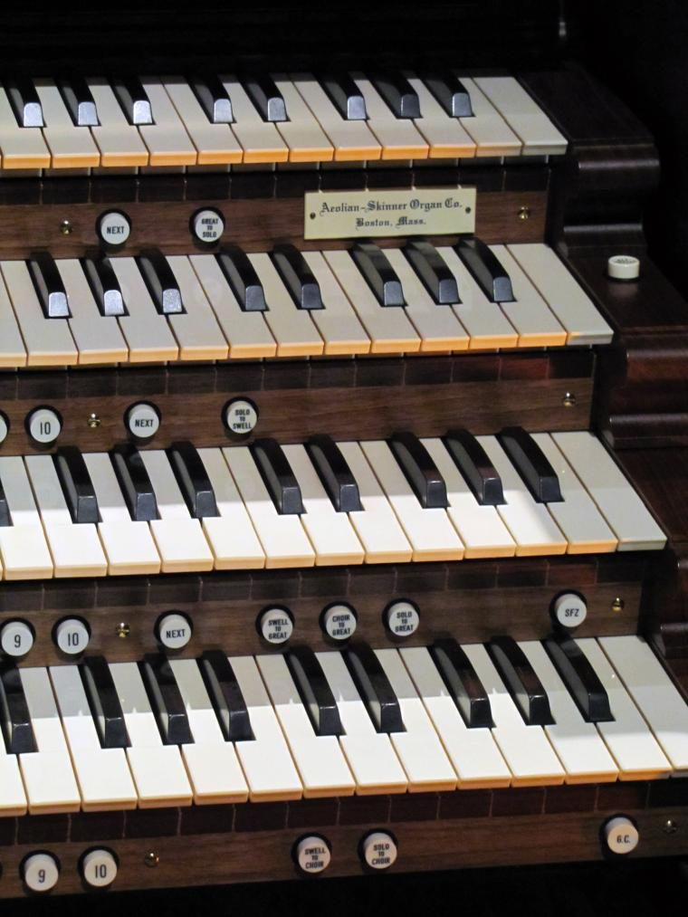 Closeup of Northrop organ keys