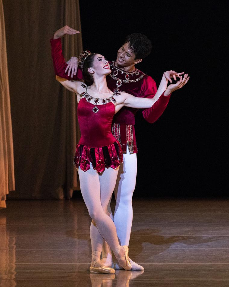 Scene from Rubies with Beckanne Sisk and Hadriel Diniz of Ballet West