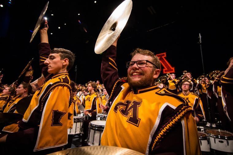 U of M Marching Band cymbal players