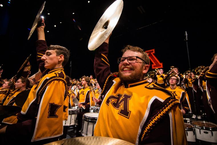 U of M Marching Band cymbal players