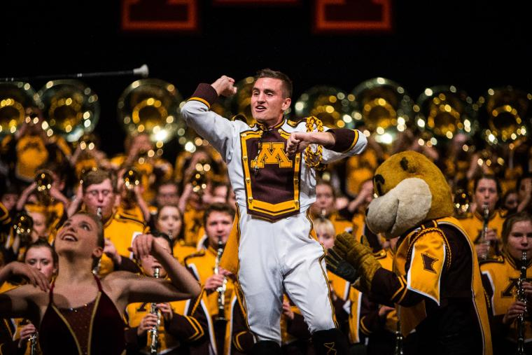 Drum Major in front of band with Goldy
