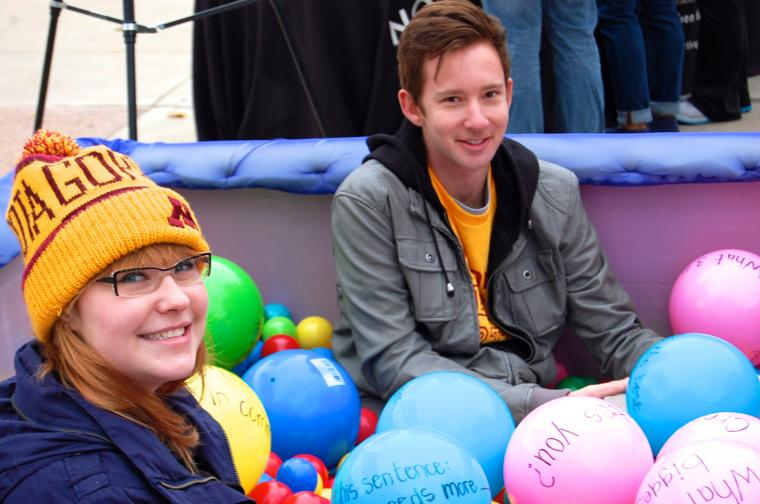 U of M students participate in a Pop-Up Northrop ball pit!