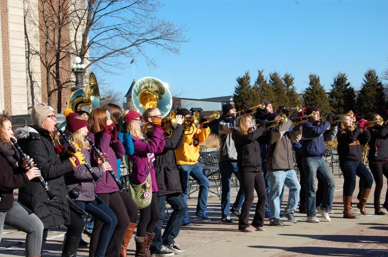 U of M Marching Band plays on the plaza for Pop-Up Northrop!
