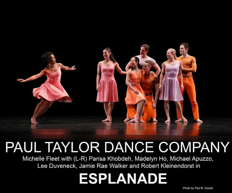 Paul Taylor Dance Company Michelle Fleet with Parisa Khobdeh, Madelyn Ho, Michael Apuzzo, Lee Duveneck, Jamie Rae Walker and Robert Kleinendorst in Esplanade