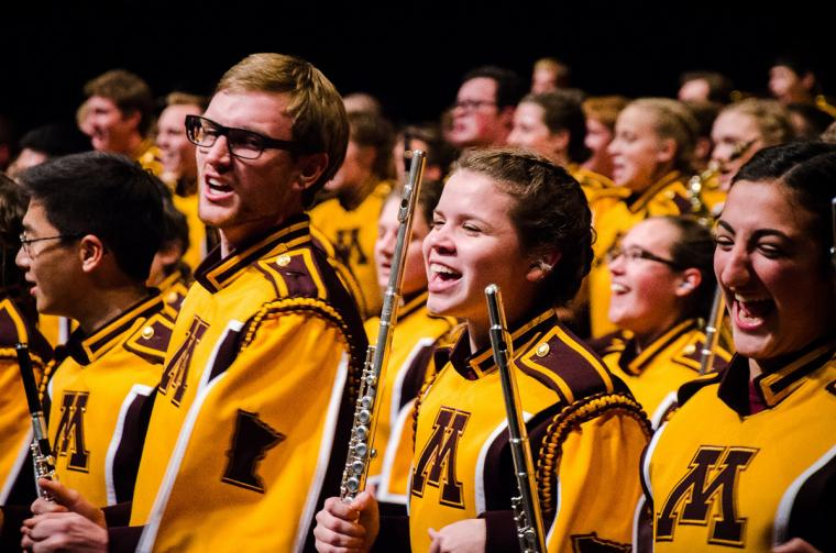 Flute section of the U of M marching band
