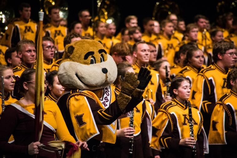 Goldy among the woodwinds of the U of M marching band