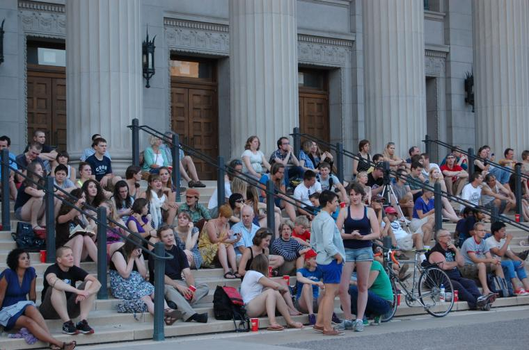 Students outside for a concert