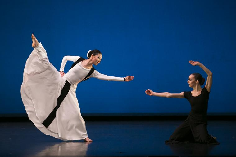 Scene from Chronicle with Xin Ying and Anne Souder of Martha Graham Dance Company