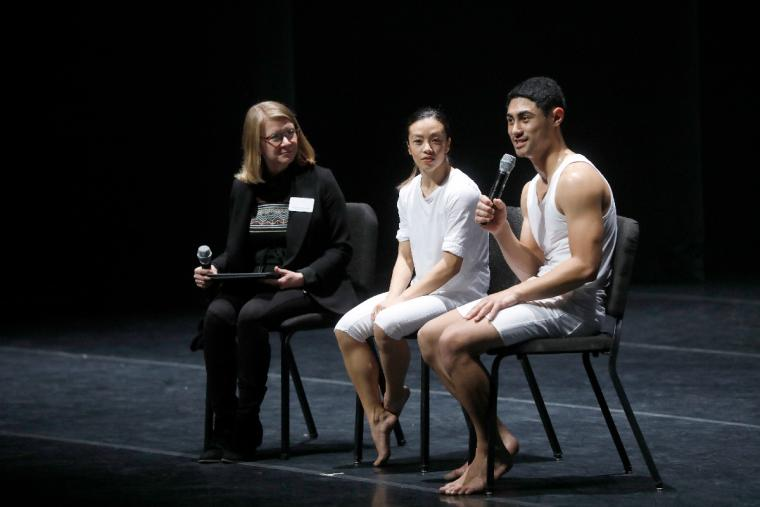 Members of Black Grace answered questions from the student matinee attendees on Nov 7. Appearing on stage after the matinee with them is Northrop Director of Programming, Kristen Brodgon