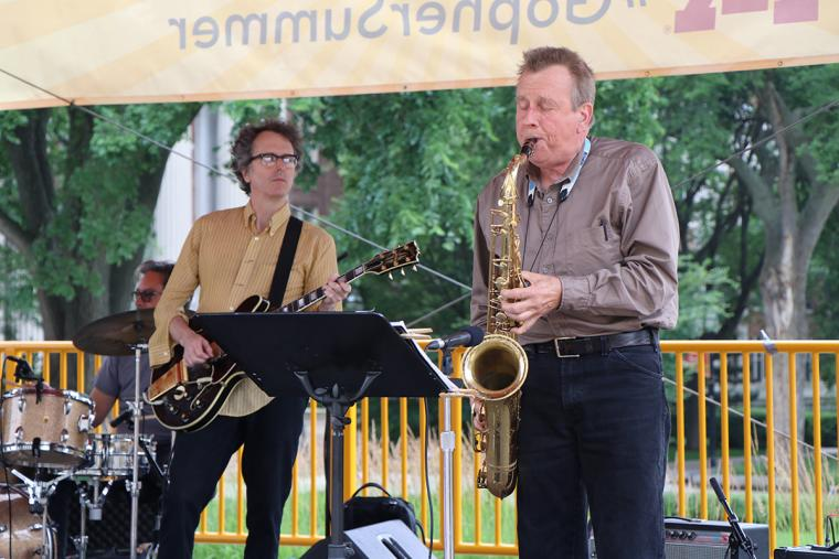 Jacques Wait on guitar and Max Ray on saxophone