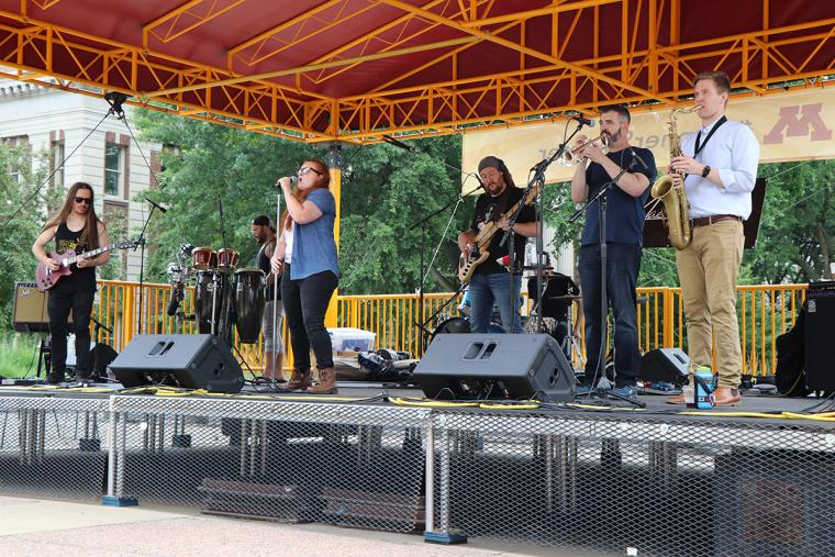 Mae Simpson band on stage July 17 2019 for Music on the Plaza at Northrop