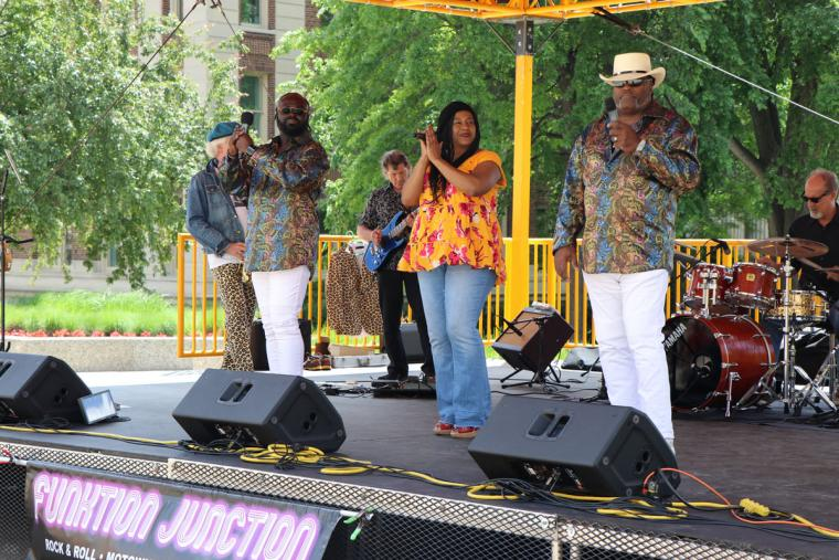 Funktion Junction on stage June 12 2019 for Music on the Plaza at Northrop