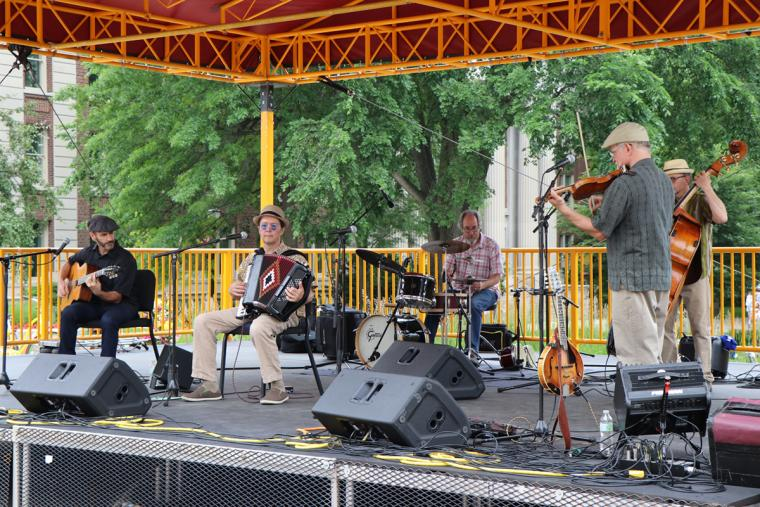 Dan Newton's Cafe Accordion Orchestra on stage June 26 2019 for Music on the Plaza at Northrop