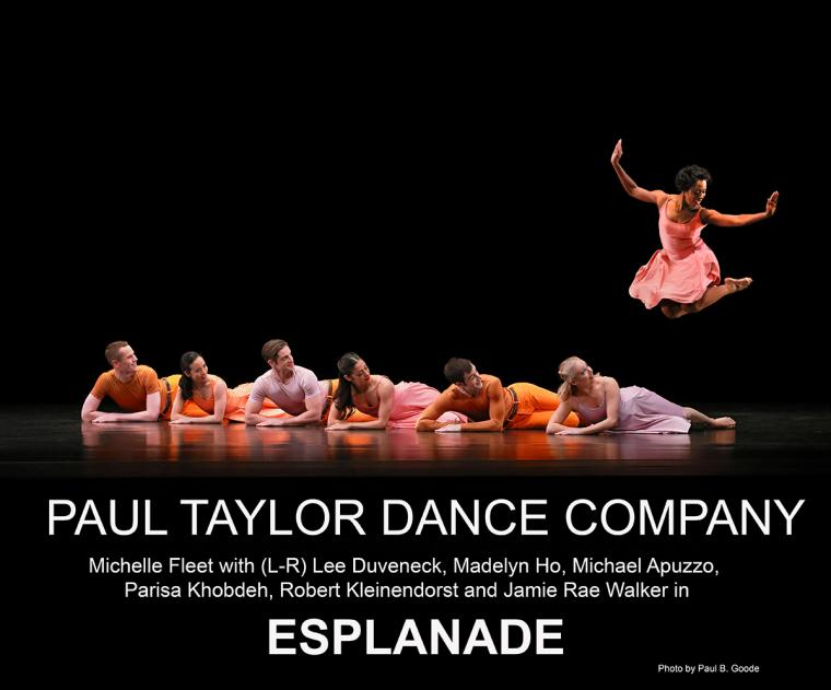 Paul Taylor Dance Company Michelle Fleet with Lee Duveneck, Madelyn Ho, Michael Apuzzo, Parisa Khobdeh, Robert Kleinendorst and Jamie Rae Walker in Esplanade