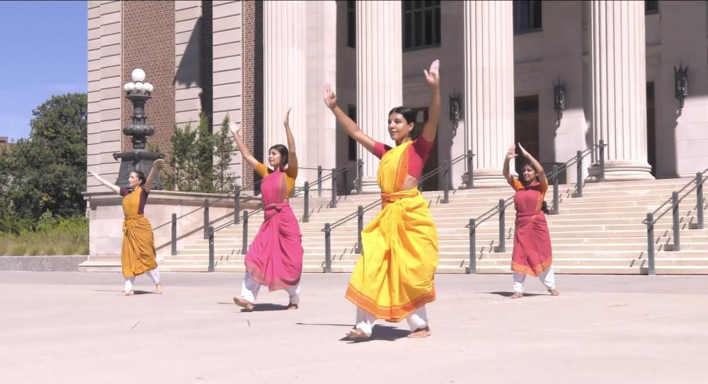 Dancers from Ragamala Dance Company on Northrop Plaza.
