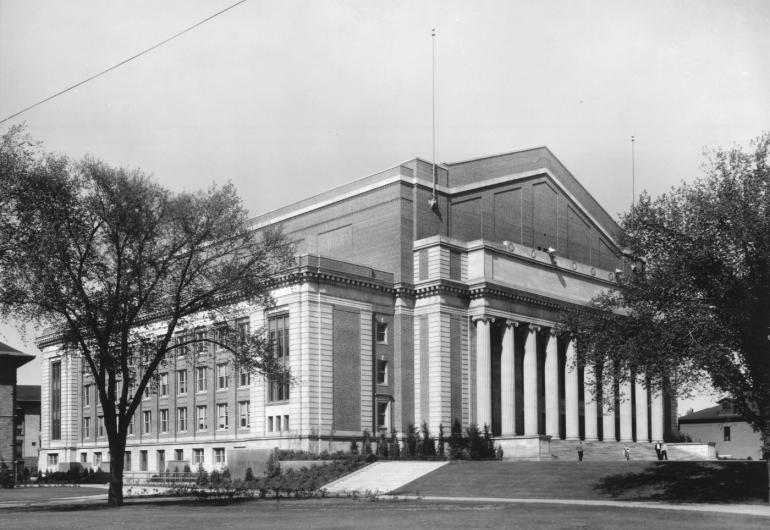 A black and white photo of Northrop's exterior.