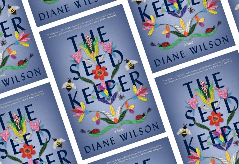 "A repeating pattern of books titled ""The Seed Keeper"" by Diane Wilson, their covers all show drawn images of flowers and bees surrounding the title."