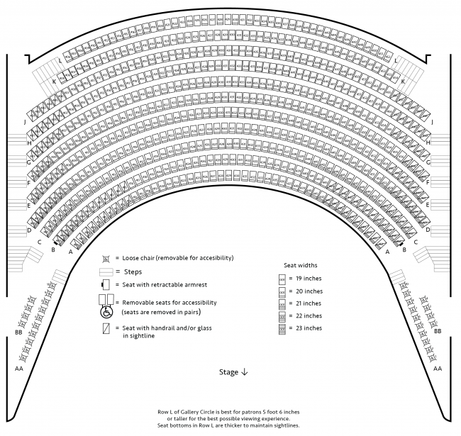 Seating chart for Gallery Circle Level 4 of Carlson Family Stage