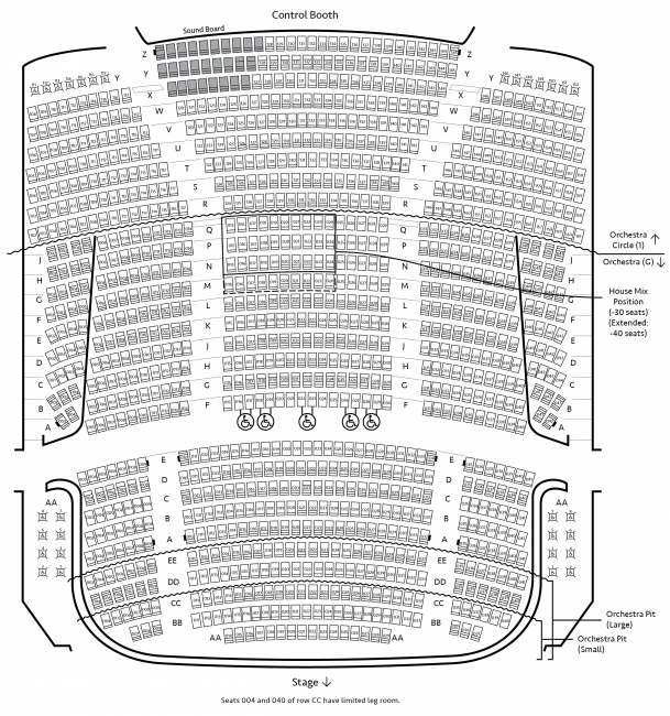 Seating chart for Orchestra & Orchestra Circle Level 1 of Carlson Family Stage