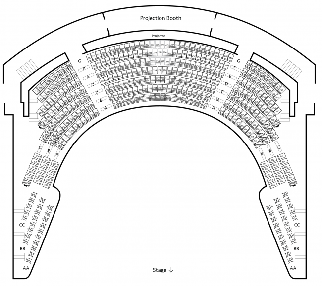 Seating chart for Presidents Circle Level 2 of Carlson Family Stage