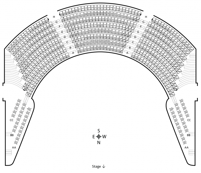 Seating chart for Scholars Circle Level 3 of Carlson Family Stage